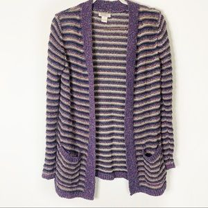 Lucky Brand Striped Open Front Sweater Sz L